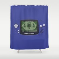 gameboy Shower Curtains featuring Classic Gameboy Zelda Link by Electra