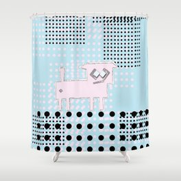 ODD MIKEY Stuff - Blue and Dots Shower Curtain