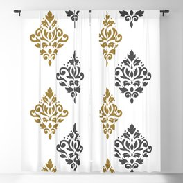 Scroll Damask Art I Gold & Grey on White Blackout Curtain