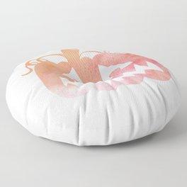 Halloween Watercolor Pumpkin Face Orange & Pink 6 Floor Pillow