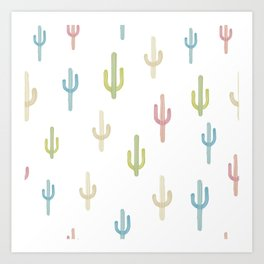 Cute Colorful Cactus Pattern Art Print