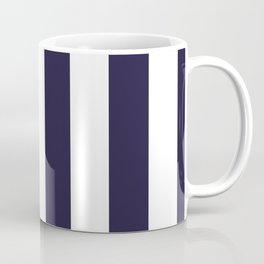 Dark eclipse Blue and White Wide Vertical Cabana Tent Stripe Coffee Mug
