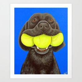 Black Lab with Tennis Balls Art Print