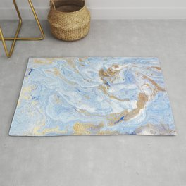 blue gold marbling golden marble liquid texture textura líquida de mármol dorado veteado de oro azul Rug