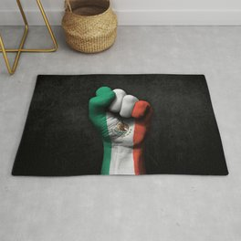 Mexican Flag on a Raised Clenched Fist Rug