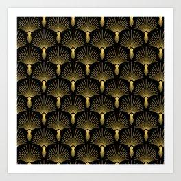 Vintage Hollywood Elegant Gold and Black Art Deco Art Print