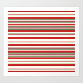 Red Green and White Candy Cane Stripes Thick and Thin Horizontal Lines Festive Christmas Art Print