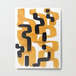 Mid Century Abstract Black & Yellow Fun Pattern 60's Ripple Mustard Color Trippy Maze Metal Print