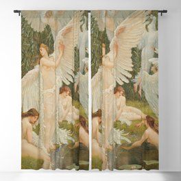 White Swans and the Maidens angelic garden landscape painting by Walter Crane  Blackout Curtain