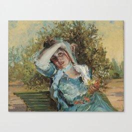 Emilio Sala Francés, Girl with Flowers 1906 Canvas Print