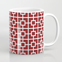 Wine Red Square Chain Patterned Design Coffee Mug