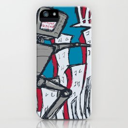 Manhattan vs. Depressed Giant Robot iPhone Case