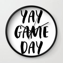 Yay Game Day Football Sports Black Text Wall Clock