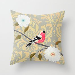 Bird - Song of the Finch Coral  Throw Pillow