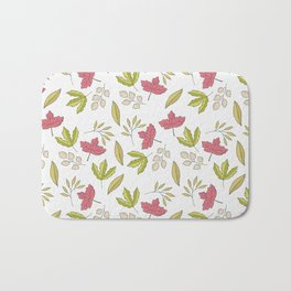Pink green ivory hand painted autumn leaves pattern Bath Mat