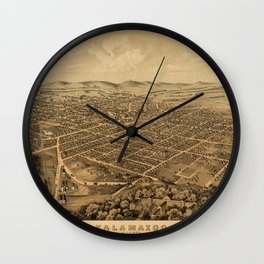 Map Of Kalamazoo 1874 Wall Clock