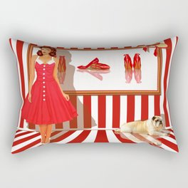 Series: Woman Quartet, No.1 in red and white Rectangular Pillow