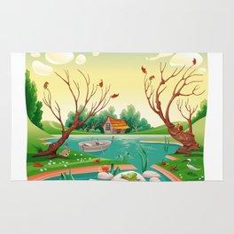 Pond and animals.  Rug