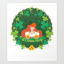 St Patricks Day Party Shirt Shamrock Beer Gift Idea Light Art Print