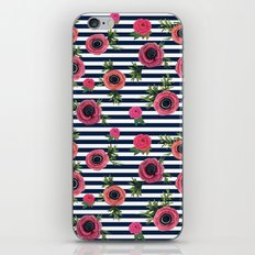 Watercolor Flowers with Nautical Stripes iPhone & iPod Skin
