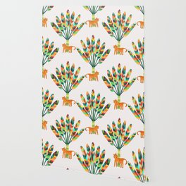 Whimsical travelers palm with tiger Wallpaper