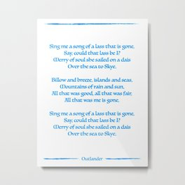 Outlander Skye Boat Song Print Jamie and Claire Sassenach Highlander Fraser Metal Print