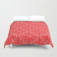 morocco Duvet Covers featuring Morocco Pink by Aelwen