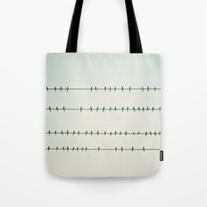 Birds on Four Wires  Tote Bag