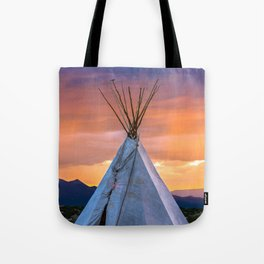 Southwest Teepee Sunset With Bird Tote Bag