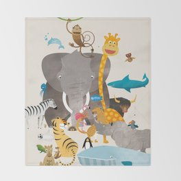 Kids Room Animals – Illustration for the sleeping room of girls and boys Throw Blanket