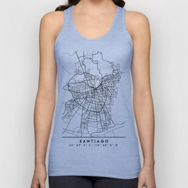 SANTIAGO DE CHILE BLACK CITY STREET MAP ART Unisex Tank Top