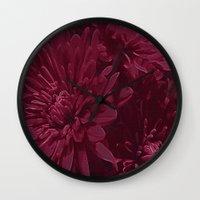 burgundy Wall Clocks featuring Burgundy Chrysanthemums by Judy Palkimas