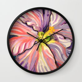 White Hibiscus in Belize Wall Clock