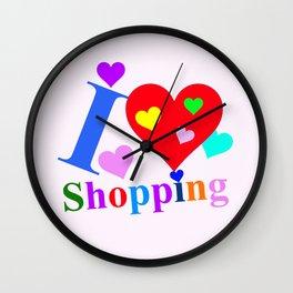 Pink I love Shopping Wall Clock