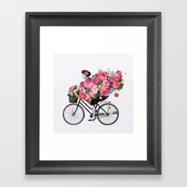 floral bicycle  Framed Art Print