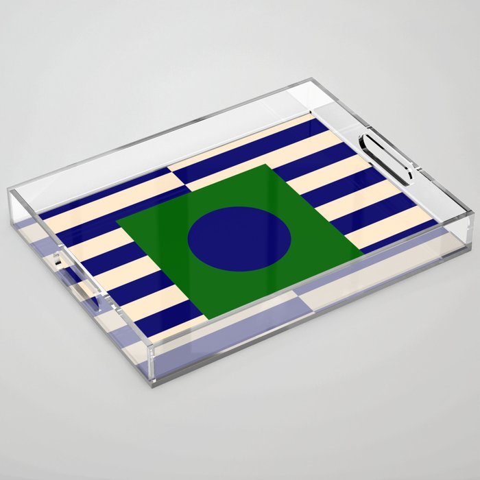 GEOMETRY BLUE&GREEN V Acrylic Tray