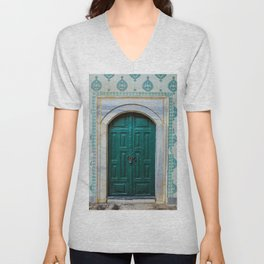 Teal Topkapi Palace Doorway Unisex V-Neck