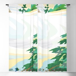 landscape winter snow tree Blackout Curtain