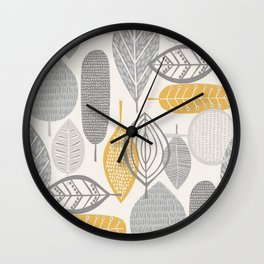 Leaves, colored leaves, nature, petals, colored petals, textile pattern, natural, natural, organic, organic in design, Wall Clock