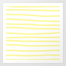 Simply Drawn Stripes in Pastel Yellow Art Print