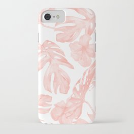 Tropical Palm Leaves Hibiscus Flowers Coral Pink iPhone Case