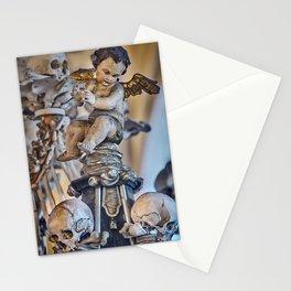 Sedlec Ossuary Cherub Photo Art, Skull Bone Church Stationery Cards