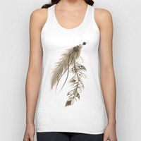 bohemian Tank Tops featuring Bohemian Feather by LouJah