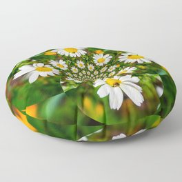 Magic Field Summer Grass - Chamomile Flower with Bug - Polarity #1 Brightly Floor Pillow