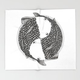 Pisces - Fish Koi - Japanese Tattoo Style (black and white) Throw Blanket