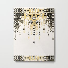 Modern Deco in Black and Cream Metal Print