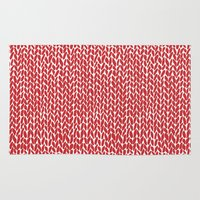 Hand Knit Red Rug
