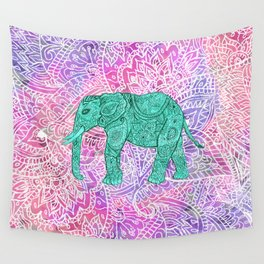 Elephant in Paisley Dream Wall Tapestry