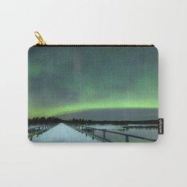 Aurora borealis over a bridge in winter, Finnish Lapland Carry-All Pouch