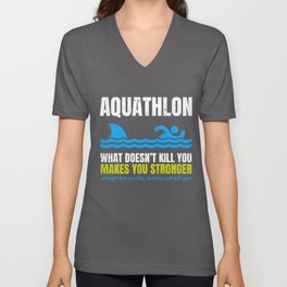 Funny Aquathlon What Does Not Kill You Shark  Unisex V-Neck